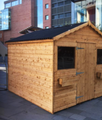 Cabin rental & assembly at Spinningfields, Manchester