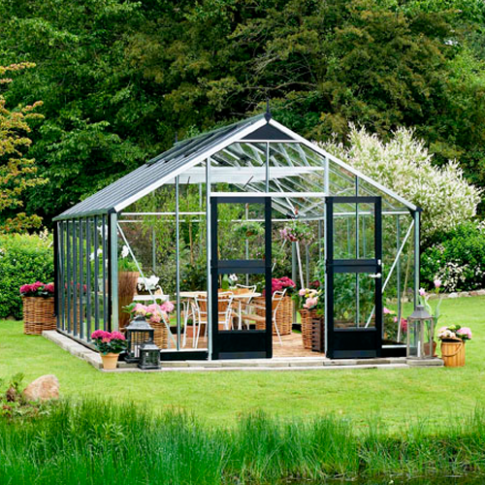 Juliana Gardner Greenhouse Aluminium/Black 12ft wide