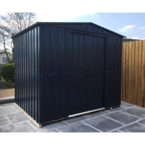Lotus Steel Shed (8ft wide) - Anthracite Grey