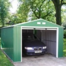 Olympian 12ft wide Metal Garage - Emerald Green and White